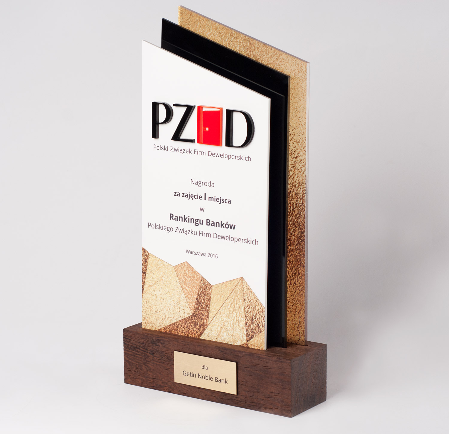 Trophy for 1st place in the Raking of Banks of Polish Association fo Developers