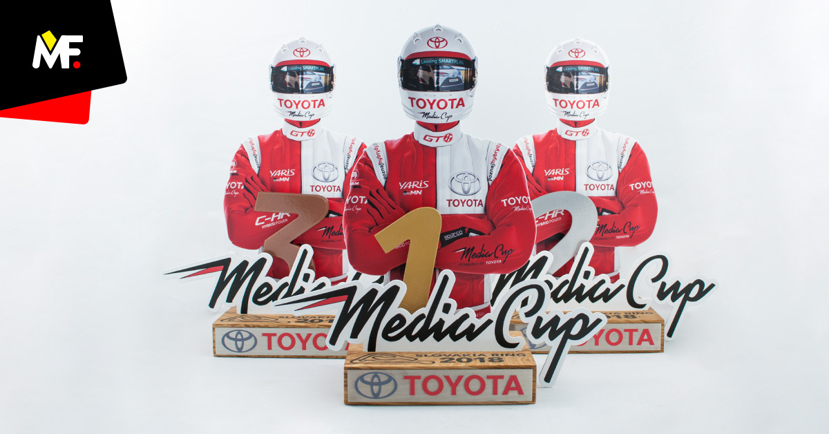 Modern statuettes for the Toyota Media Cup podium presenting the participant